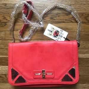 Handbags - Boutique bright red/orange purse with gold detail